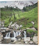 Mt Rainier Paradise Portrait Wood Print