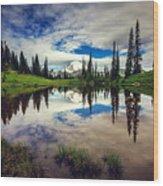 Mt Rainier Reflections Wood Print