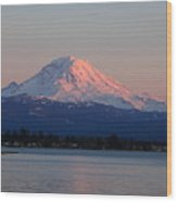 Mt Rainier Sunset Wood Print