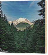 Mt Rainier Through The Trees Wood Print