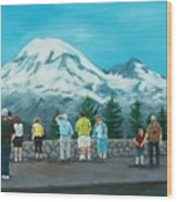 Mt. Rainier Tourists Wood Print