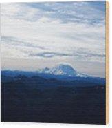 Mt Rainier Under Clouds Wood Print