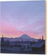 Mt Rainier Winter Sunrise-1 Wood Print