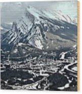 Mt Rundle Aerial View Wood Print