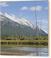Mt Rundle Over Vermillion Lakes Wood Print
