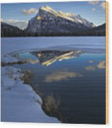 Mt. Rundle Winter Reflection Wood Print