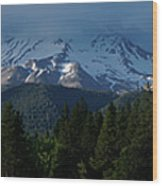 Mt Shasta Under Clouds - Panorama Wood Print