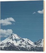 Mt Shasta With Heart-shaped Cloud Wood Print