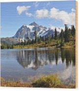 Mt Shuskan In Fall Wood Print