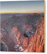 Mt Whitney And Pinnacles Sunrise - John Muir Trail Wood Print