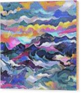 Mts. In The Sea Wood Print