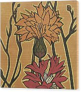 Mucha Ado About Flowers Wood Print