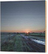 Muddy Road Sunrise II Wood Print