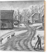 Muddy South Dakota Farmyard Wood Print