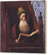 Mufti Reading In His Prayer Stool Wood Print