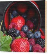 Mug With Fresh Berries Wood Print