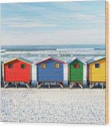 Muizenberg Beach Huts 2 Wood Print