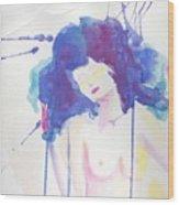 Mujer En Acuarela Wood Print