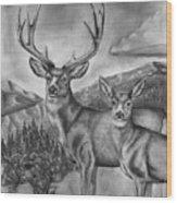 Mule Deer Heaven Wood Print