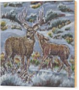Mule Deer Lovers From River Mural Wood Print