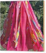 Multi-color Pink Skirt. Ameynra Design Wood Print