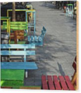 Multi-colored Benches On The Pedestrian Zone Wood Print