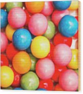 Multi Colored Gumballs. Sweets Background Wood Print