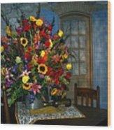 Multicolor Floral Arrangement Wood Print