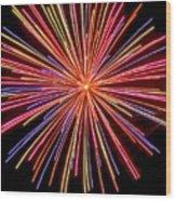 Multicolored Fireworks Wood Print
