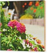 Multicolored Flowers Wood Print