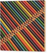 Multicolored Pencils In Rows Wood Print
