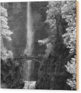 Multnomah Falls Bw Wood Print