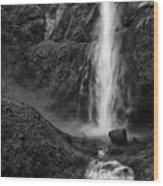 Multnomah Falls In Black And White Wood Print