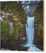 Multnomah Falls With Ice Wood Print