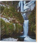 Multnomah Falls With Snow Wood Print