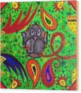 Mun Moji-hookah Monkey Wood Print