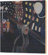 Munch's Cat--the Scream Wood Print by Eve Riser Roberts