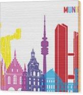 Munich Skyline Pop Wood Print