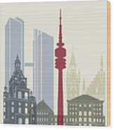 Munich Skyline Poster Wood Print