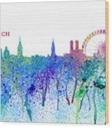 Munich Skyline Silhouette An Impressionistic Splash - Dream Cities Series Wood Print