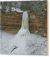 Munising Falls Frozen Wood Print