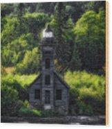 Munising Grand Island Lighthouse Upper Peninsula Michigan Vertical 01 Wood Print