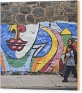 Mural In Valparaiso Wood Print
