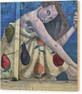Mural Of A Woman In A Fruit Dress Wood Print