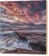 Muriwai Sunset Wood Print