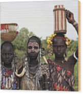 Mursi Tribesmen In Ethiopia Wood Print