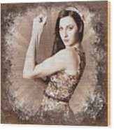 Muscle And Strength Pinup Poster Girl Wood Print