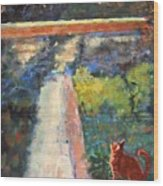 Museum Cat Enters The Picture After Georges Seurat Wood Print