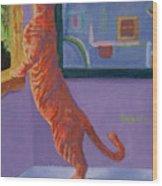 Museum Cat Wood Print