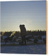 Mushers At Sunrise Wood Print